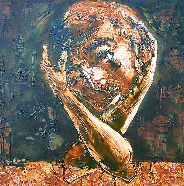 LLB_Self-potrait 4- Tu Hoa 4, 2010,  Mixed media, 80cm x 80cm
