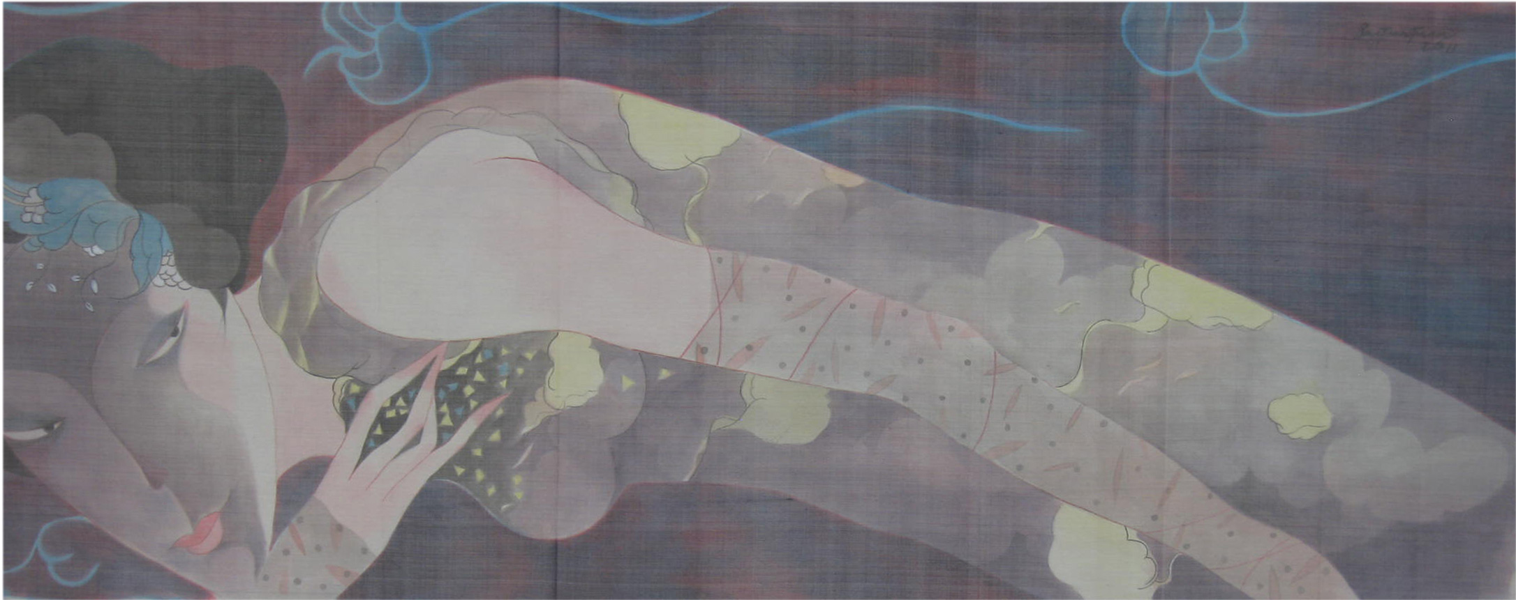2-buitientuan.dreamy-girl.silk-on-canvas.45x115cm