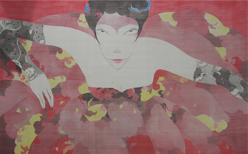 (2)Bui Tien Tuan_The Girl in The Flower Dress 1_Co Gai Trong Chiec Vay Hoa 1_2011_Ink, water color on silk_82 x 135 cm copy
