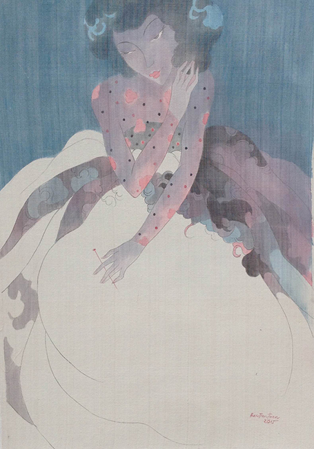 Bui Tien Tuan, Untitled 6, Ink and water color on silk, 60 x 90cm, 2015
