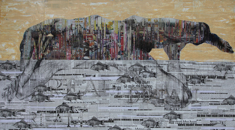 Ngo Van Sac_Dream _ Mo_Mixed media on canvas_135 x 75 cm
