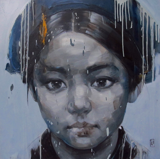 Phuong Quoc Tri_Portrait of A Young Girl_2015_Oil on canvas_120 x 120 cm