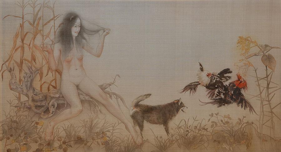 10_le-thuy_cau-chuyen-trong-vuon_-story-in-the-garden_78x138cm_2016_silk-painting
