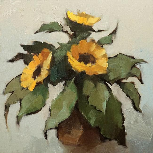 Nguyen Thanh Binh_Hoa Huong Duong_Sunflowers_2016_Oil on canvas_45 x 45 cm