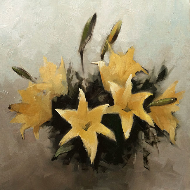 Nguyen Thanh Binh_Loa Ken Vang_Yellow Lily_2016_Oil on canvas_80 x 80 cm copy