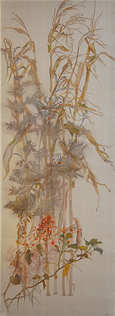 le-thuy_walking-in-the-garden-iv_cuoc-dao-choi-trong-vuon-iv_2016_watercolor-on-silk-_170-x-62-cm