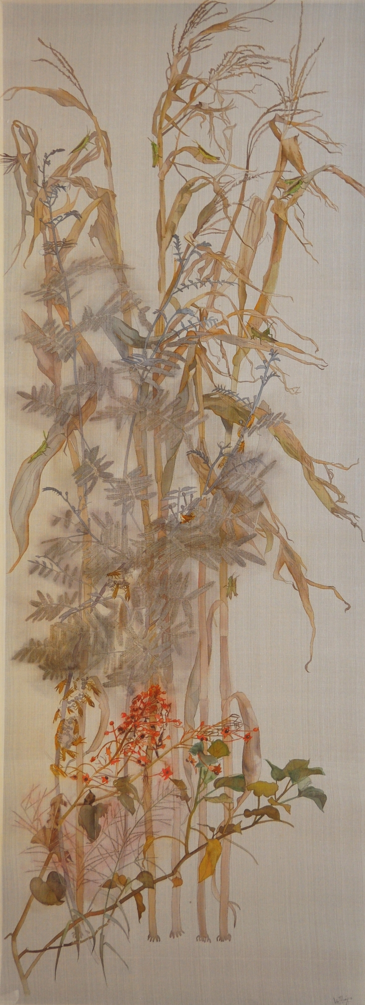 le-thuy_walking-in-the-garden-iv_cuoc-dao-choi-trong-vuon-iv_2016_watercolor-on-silk-_170-x-62-cm-e1475503788829