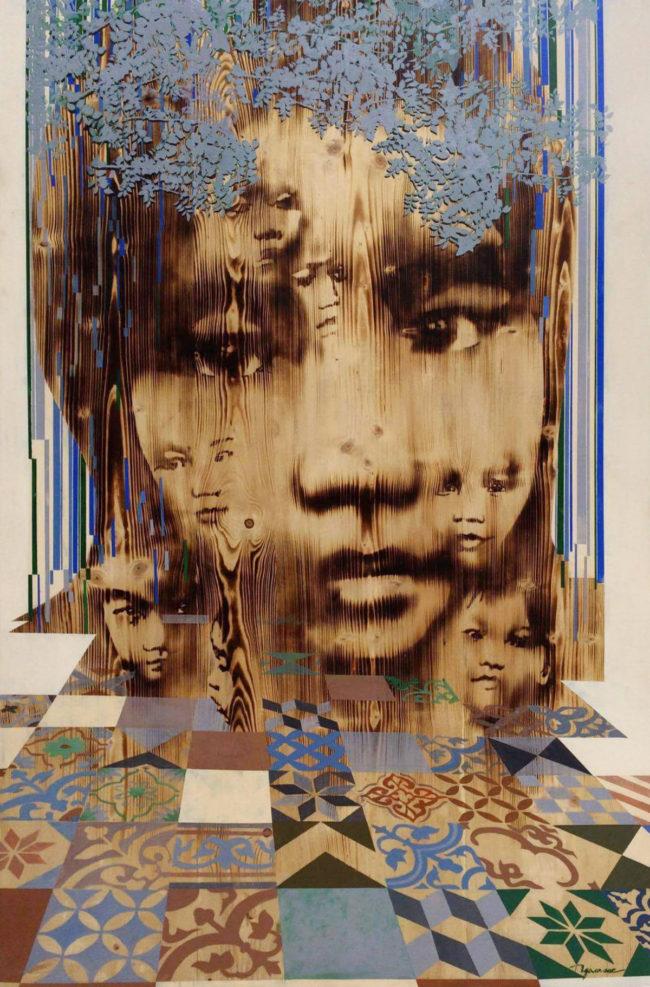 Ngo Van Sac_Childhood Memory 3_Ki Uc Tuoi Tho 3_2016_Acrylic, wood burn_180 x 120 cm