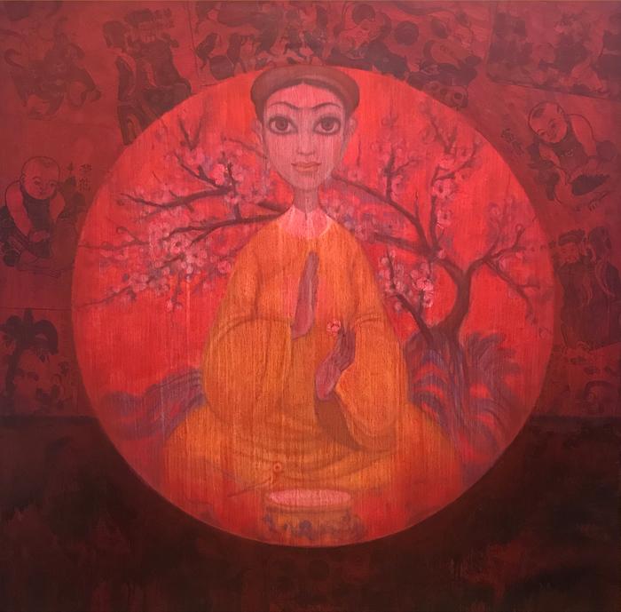 Bui-Thanh-Tam_Thiên-Đường-Bỏ-Ta-Đi---Giấc-Mộng-Phai-Tàn_Heaven-Abandons-Us_Faded-Dream_Sơn-dầu-tranh-Đông-Hồ_Oil-Dong-Ho-folk-painting_120x120cm_2017