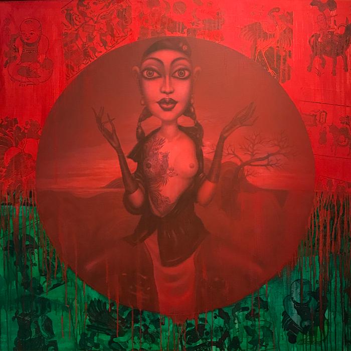 Bui-Thanh-Tam_Thien-Duong-Bo-Ta-Di_Noi-Day-La-Noi-Dau_Heaven-Abandoned-Us_Where-is-Here_Sơn-dầu-tranh-Đông-Hồ_Oil-Dong-Ho-folk-painting_120x120cm_2017