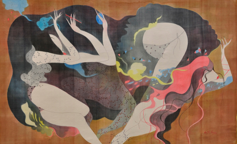 Bui-Tien-Tuan_Dem-Hoan-Ca_Night-of-Revelry_Mau-nuoc-tren-lua-boi-vai-bo_Watercolor-on-silk-mounted-on-canvas_80-x-125cm_2016