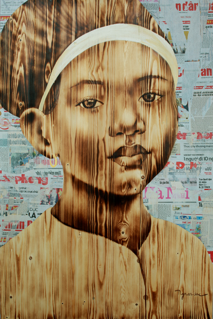 ngo-van-sac--childhood2--woodburn-collage-on-wood--120x80cm-2017