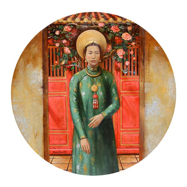 TMT _Tai Nhan Ho Chi Lac, Vo Vua Thanh Thai - Ho Chi Lac, Concubine of King Thanh Thai_2017_Oil, lacquer on wood_122 x 122 cm