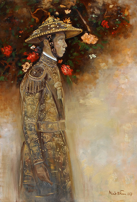 TMT_Vua Khai Dinh - King Khai Dinh_2017_Oil, lacquer on wood_122 x 83 cm