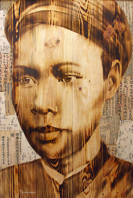 Ngo Van Sac_An Nam_2017_Wood burn and mixed media_120 x 80 cm