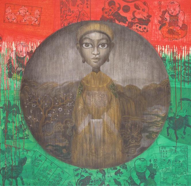 Bui Thanh Tam_Dòng Dõi Hoàng Tộc_Roya;l Descent__Oil, Dong Ho fold painting on canvas_sơn dầu, tranh đông hồ trên vải bố_2017_110 x 110 cm