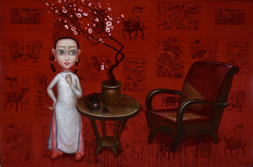 Bui Thanh Tam_Abandoned By Heaven_Thien Duong Bo Ta Di_Oil on Dong Ho folk painting on canvas_2017_120 x 180 cm