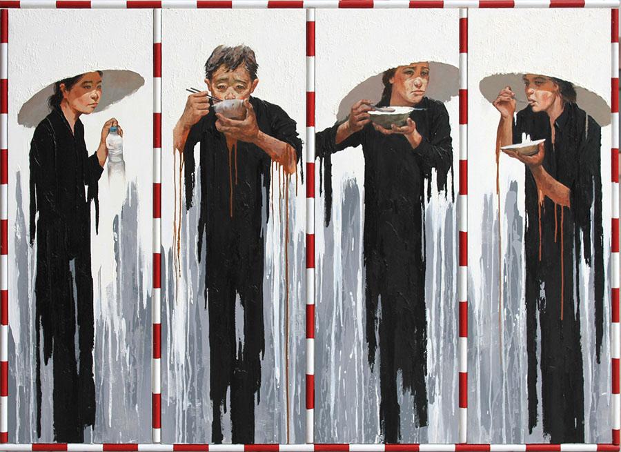 Lim Khim Ka Ty Eating Ăn 2011 Oil on canvas 150 x 220 cm