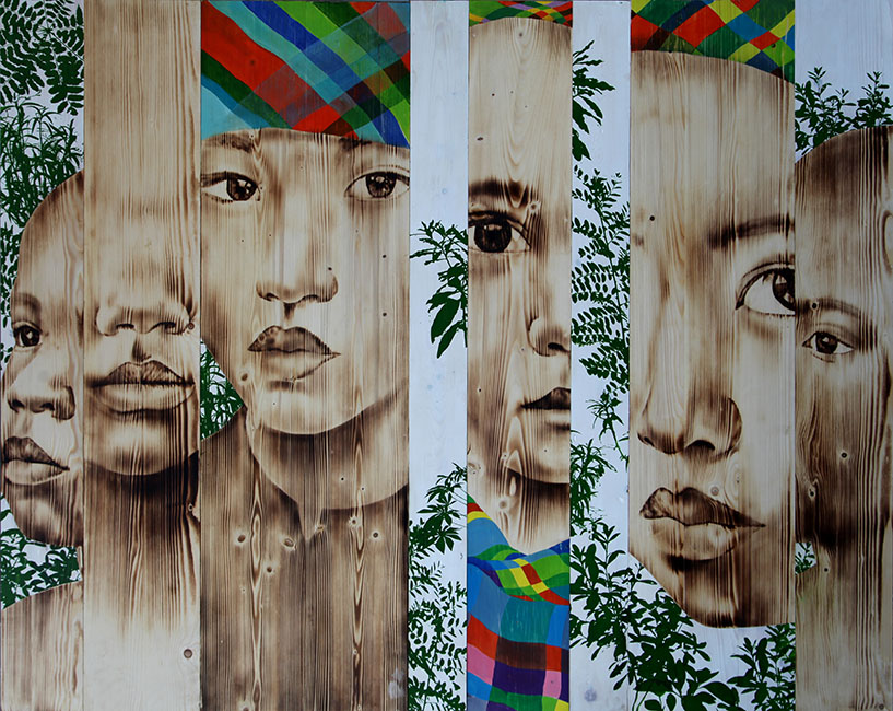 Ngô Văn Sắc_Chung Song 2, Living Together 2, 2017, Wood burn, acrylic on wood, 120 x 152 cm