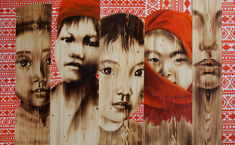 Ngo Van Sac_Together 3_Chung Song 3_2017_Wood burn, acrylic on wood_79 x 128 cm