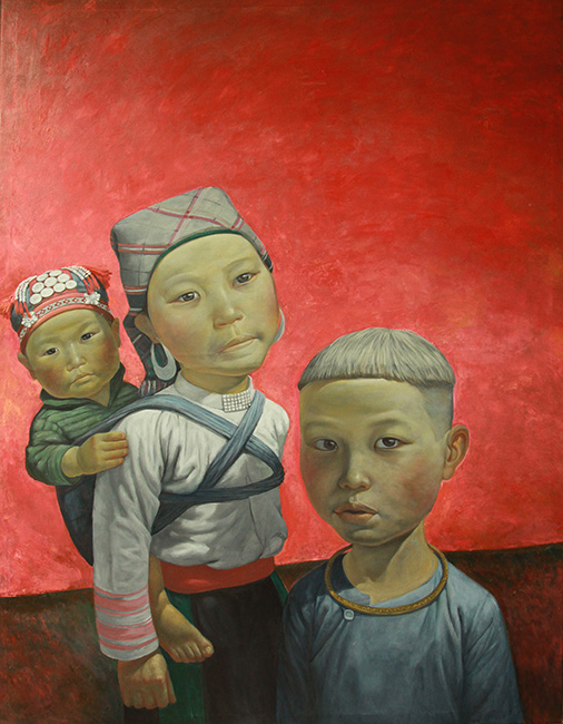 NHS_Xuong Cho_Going to the market_2017_Oil on canvas_120 x 160 cm