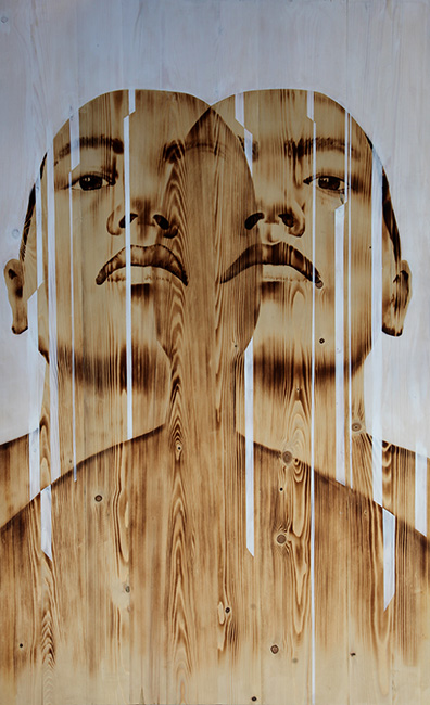 NVS_Lat Cat_Slices_2017_Wood burn, acrylic on wood_ 156.7 x 95.6 cm