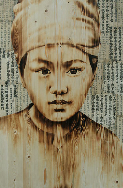 Thieu Nu H-Mong, H-Mong Girl, 2017, Wood burn, acrylic on wood, 120 x 80 cm (1)