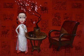 Bui Thanh Tam_Thiên Đường Bỏ Ta Đi- Mùa Xuân Đỏ Của Chúng Em_Abandoned by Heaven- Our Red Spring_Sơn dầu trên tranh Đông Hồ_Oil on Dong Ho folk painting_120 x 180 cm_2017
