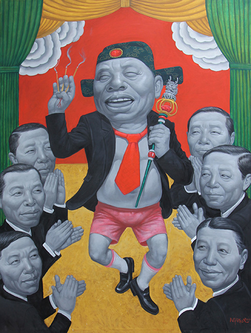 14_NHS_Len Dong_Ritual Practice_2017_ Oil on canvas_160 x 120 cm