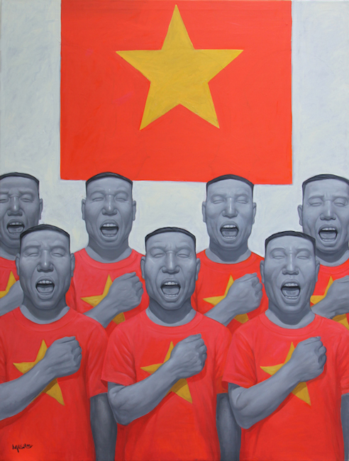 Nguyen Hung Son_Hat Quoc Ca_Sing The National Anthem_2017_ Oil on canvas_160 x 120 cm
