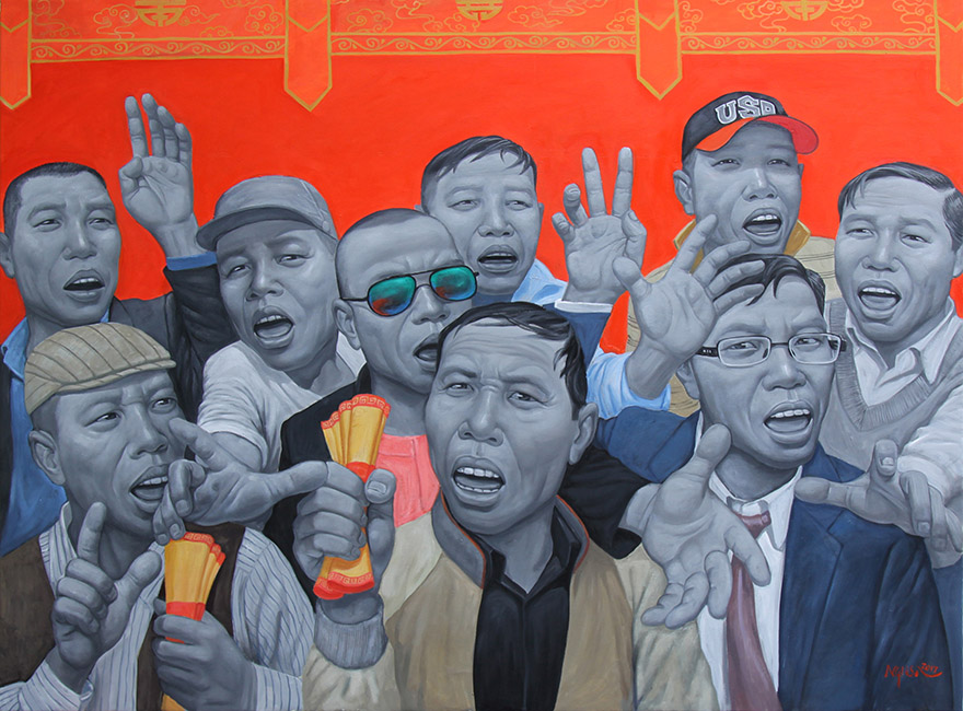 Nguyen Hung Son_Cuop An_Robbing The Stamp_2017_ Oil on canvas_160 x 120 cm
