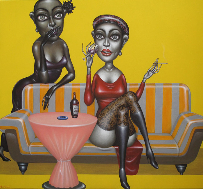 BTT_Crary People In Bar_Nhung Ke Dien Trong Bar_2014_Oil on canvas_120 x 130 cm