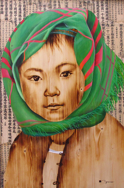 NVS_ Highland Girl 4_ 2018_Acrylic, wood burn on wood, 120 x 80 cm