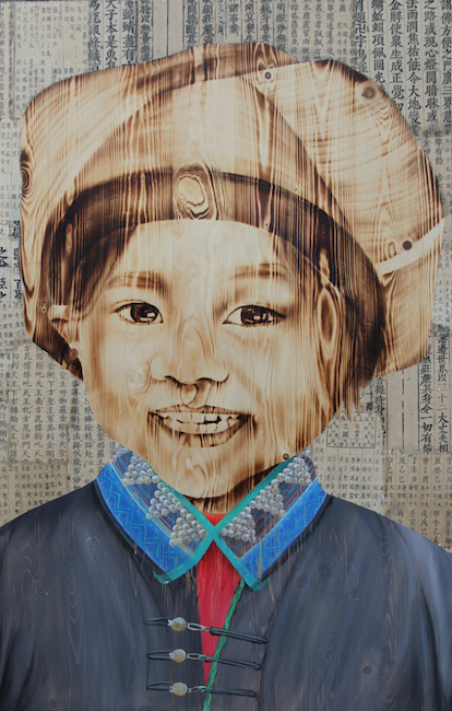 NVS_Highland Girl 4_2017_Wood burn, acrylic on wood, 110 x 70 cm