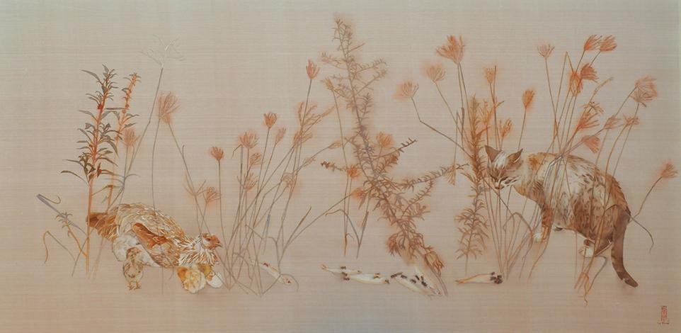 Lê Thúy, Walking in The Garden VIII, Cuộc Dạo Chơi Trong Vườn VIII, 2017, Màu nước trên lụa, Watercolor on silk, 65 x 135 cm