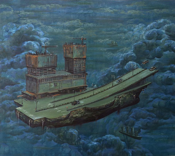 Pham Huy Thong _Chuyen Bay Dem_The Night Flight_2015_ Oil on canvas_140 x 160 cm