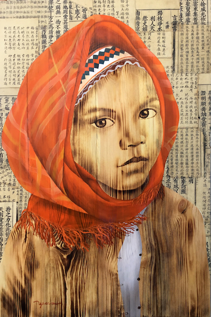 Highland girl 6-woodburn and mix media on wood-120cm x 80cm-2018