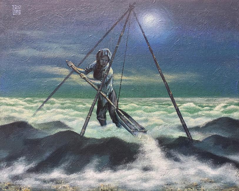 Phạm Huy Thông, Hope Series Sketch AAE, Phác thảo loạt tranh Hi Vọng AAE, Acrylic trên vải bố, bồi trên bo, Acrylic on canvas, mounted on board, 22 x 28 cm