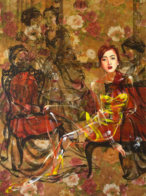 Nguyen Minh Nam_Truoc Bua Tiec_Before Party Time_Oil on flower canvas_160 x 120 cm