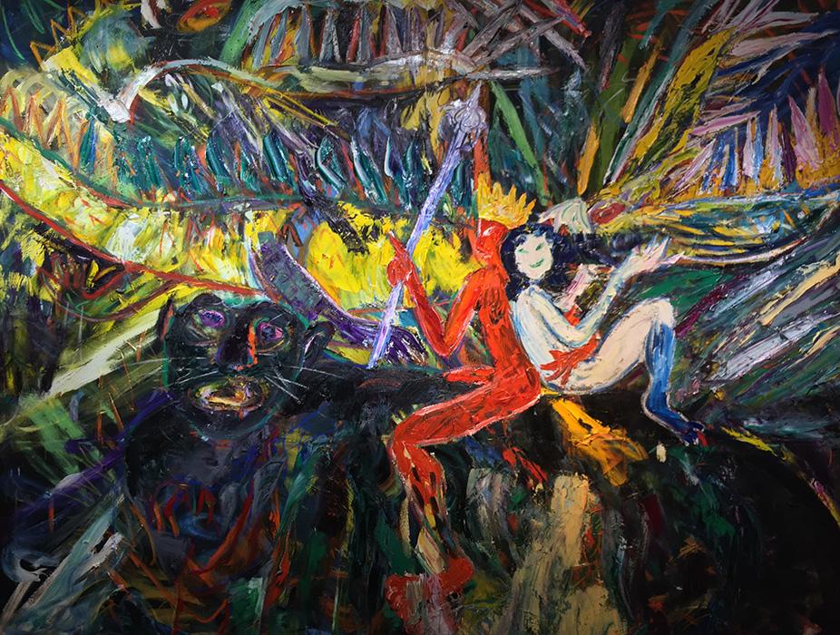 Đức Vua Và Ả Hồ Ly The King and A Fox Sơn dầu trên vải bố Oil on canvas 240 x 300 cm