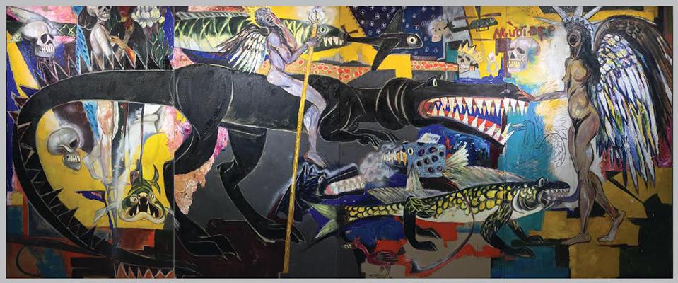 Người Đẹp và Hoàng Tử The Beauty and The Prince 2018 Sơn dầu trên vải bố Oil on canvas 200 x 480 cm (4 panels)