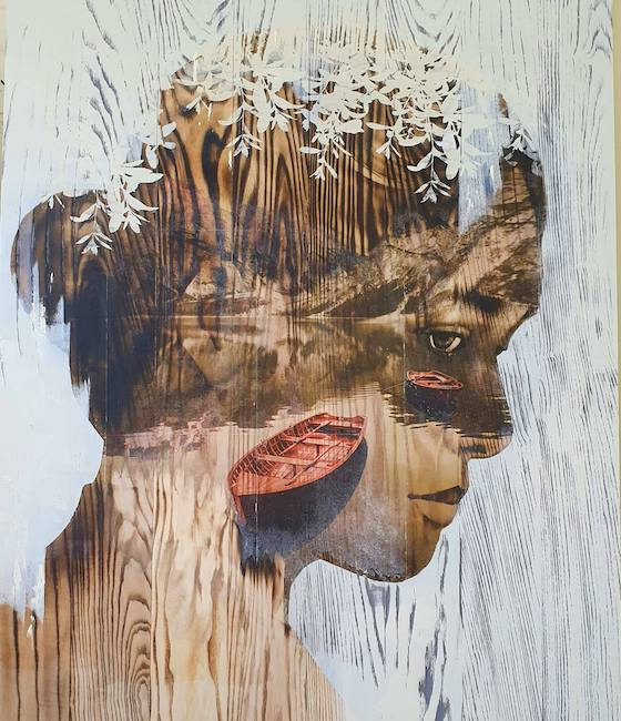 Ngo Van Sac_Vung Ky Uc_Land Of Memory_2019_Wood burn, mixed media on wood, 80 x 80 cm
