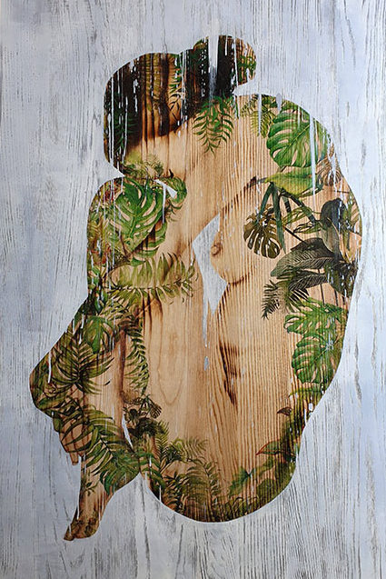 Ngo Van Sac_Vuon Yeu_Love Garden_2019_Wood burn, mixed media on wood, 120 x 80 cm