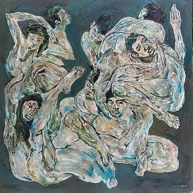 Bố Cục Xanh 1 Blue Composition 1 2019 Chất liệu tổng hợp trên vải Mixed media on canvas 150 x 150 cm