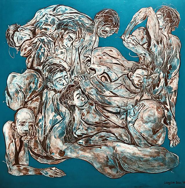 Bố Cục Xanh 2 Blue Composition 2 2019 Chất liệu tổng hợp trên vải Mixed media on canvas 150 x 150 cm