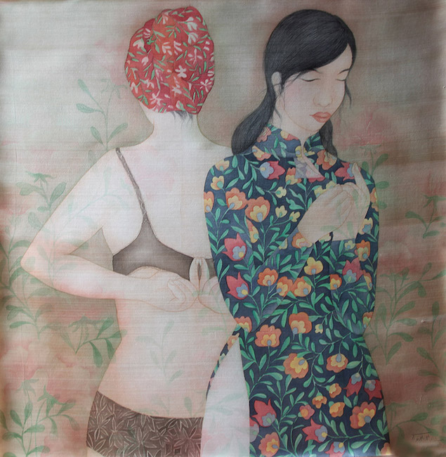 NTCG_ Cai Ao_ Getting Dressed _2020_ Water color and pigment on silk_80 x 80 cm