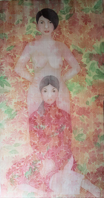 NTCG_ Co Gai Den Tu Nhung Bong Hoa_Girls Coming From Flowers_2019_ Water color and pigment on silk_160 x 80 cm
