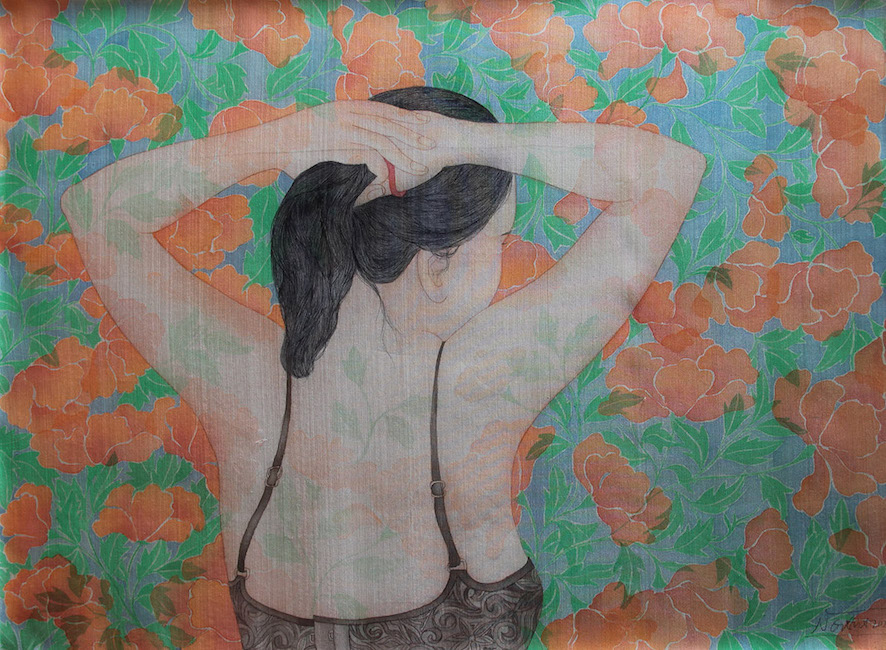 NTCG_ Cot Toc_ Tying Hair _2020_Water color and pigment on silk_60 x 80 cm