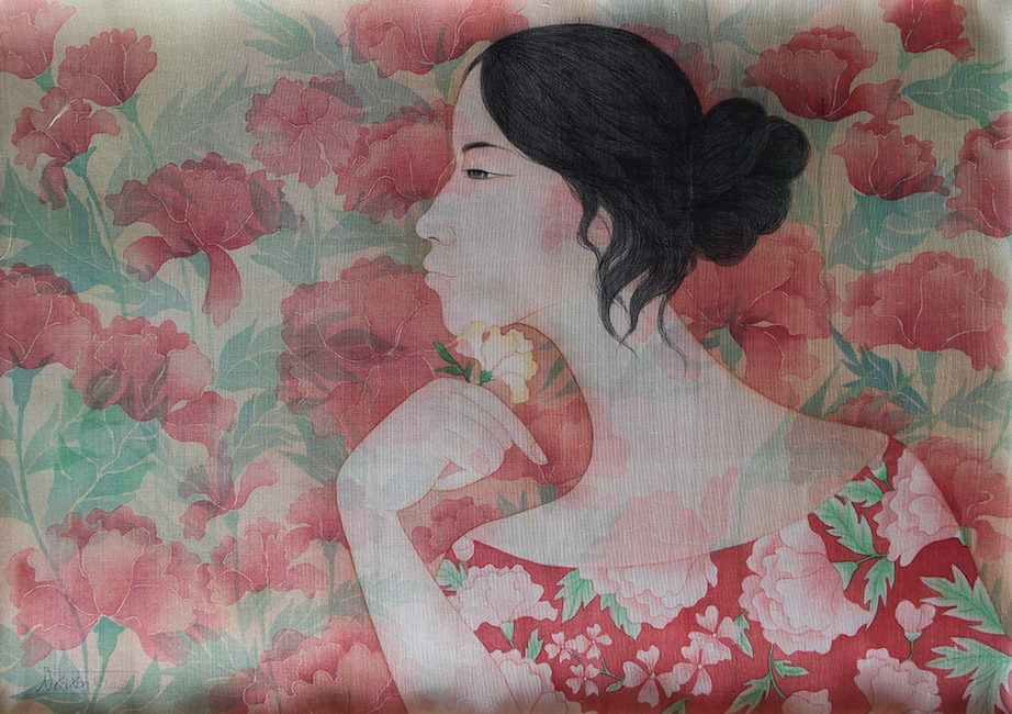 NTCG_ Nhung Bong Hoa Do_ Red Flowers _2020_ Water color and pigment on silk_50 x 70 cm