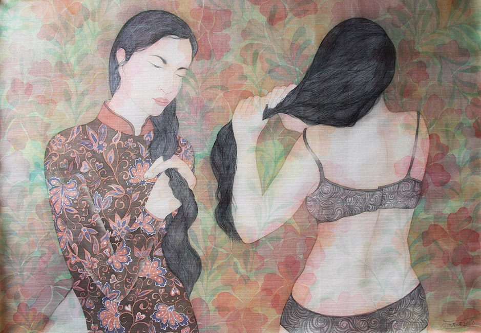 NTCG_ Tet Toc_ Braiding Hair_2020_ Water color and pigment on silk_80 x 110 cm